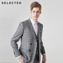 Yang Dipilih Pria Slim Fit Plaid Blazer Penutupan Kerah Jas T | 41925X504(China)