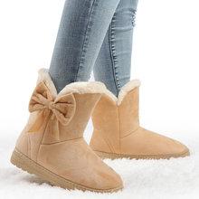 Kış ayakkabı kadın 2020 kar botları kadın artı boyutu yarım çizmeler üzerinde kayma papyon peluş ayakkabı bayan botları siyah Chaussure Femme(China)