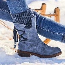 Kışlık botlar kadın tasarım kar botları Punk kadın ayakkabı dantel-up patik arka orta buzağı çizmeler sıcak Zapatos de Mujer(China)