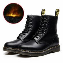 Laarzen voor Vrouwen Echt Lederen Enkel Martens Vrouwen Laarzen Casual Dr Motorfiets Schoenen Warm Bont Winter Laarzen Paar Schoenen Zapatos mujer(China)