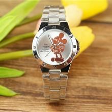 Disney Mickey Mouse Minnie Kids Student bajkowy zegarek Aolly Steel Quartz zegarki zegar dla chłopców dziewcząt prezent(China)
