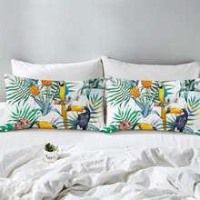 BeddingOutlet Toucan Pillowcase Tropical Plant Decorative Pillow Case Pineapple Print Pillow Cover Flower Bedding One Pair(China)