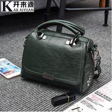 100% Bolsos De Mujer de cuero genuino 2019 nuevo OL bolsa de viaje de moda bolsos de hombro colgados Vintage mensajero(China)