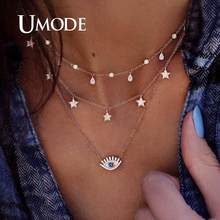 UMODE Simple colliers pour femmes filles Chocker couches colliers lune étoile pendentif fête cadeaux mode bijoux Vsco choses(China)