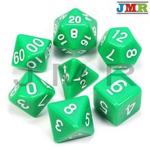 Горячая Распродажа, высококачественные черные с зелеными чернилами 7 шт./лот непрозрачные кости набор D4, D6, D8, D10, D10 %, D12, D20 многогранные кости ...(China)