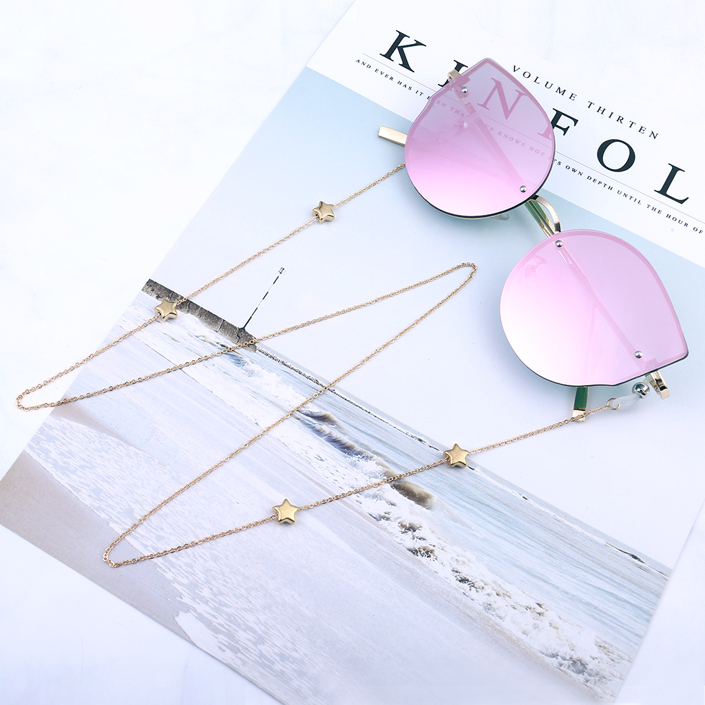 Fashion Satr Beaded Eyeglass Chain Spectacle Reading Glasses Chain Sunglass Holder Neck Cord Necklace Mental Gold Noslip Eyewear