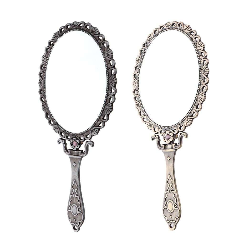 Decorative Vintage Style Oval Folding Hand Held Vanity Mirror,Foldable Packet Small Mirror for Purse Home Travel
