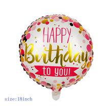 30 paterns 5 pçs 18 polegadas redondo balão de folha feliz aniversário inflável balões de hélio decoração de festa de aniversário de alta qualidade brinquedo(China)