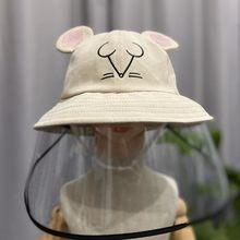 เด็กหมวกชาวประมงหมวกป้องกัน CLEAR Mask น้ำลาย-proof ป้องกันฝุ่นหมอก Sun Visor หมวกหมวกเด็ก 3-10Years(China)
