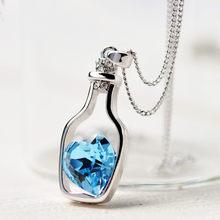 Женская мода, популярное хрустальное ожерелье, сердце, любовь, цепочка, ожерелье s & Кулоны для женщин, подарок, любовь, бутылки, ожерелье 2019 21(China)