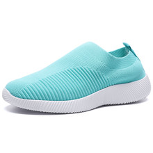 Rimocy grande taille respirant air maille baskets femmes 2020 printemps été sans lacet plate-forme à tricoter chaussures de marche doux femme(China)