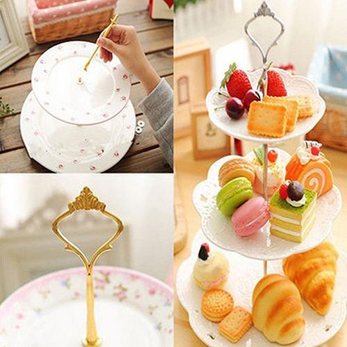 HangzhoushiJacob Elsie Soporte para platos de tarta de 2//3 niveles con mango de corona para montaje en barra de herramientas para fiestas de boda plateado