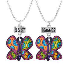 Best Friends Cartoon Enamel Animal Bear Butterfly Necklace Children Kids Cat Flamingo Bird Fish Owl Necklaces Pendants 2PCS(China)