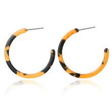 Hot sale square acrylic earring leopard acrylic print geometric square circle resin leopard long drop earrings for women 2019(China)