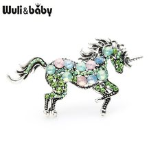 Wuli&baby Rhinestone Unicorn Brooches Women Alloy Horse Animal Weddings Banquet Brooches New Year's Gifts(China)