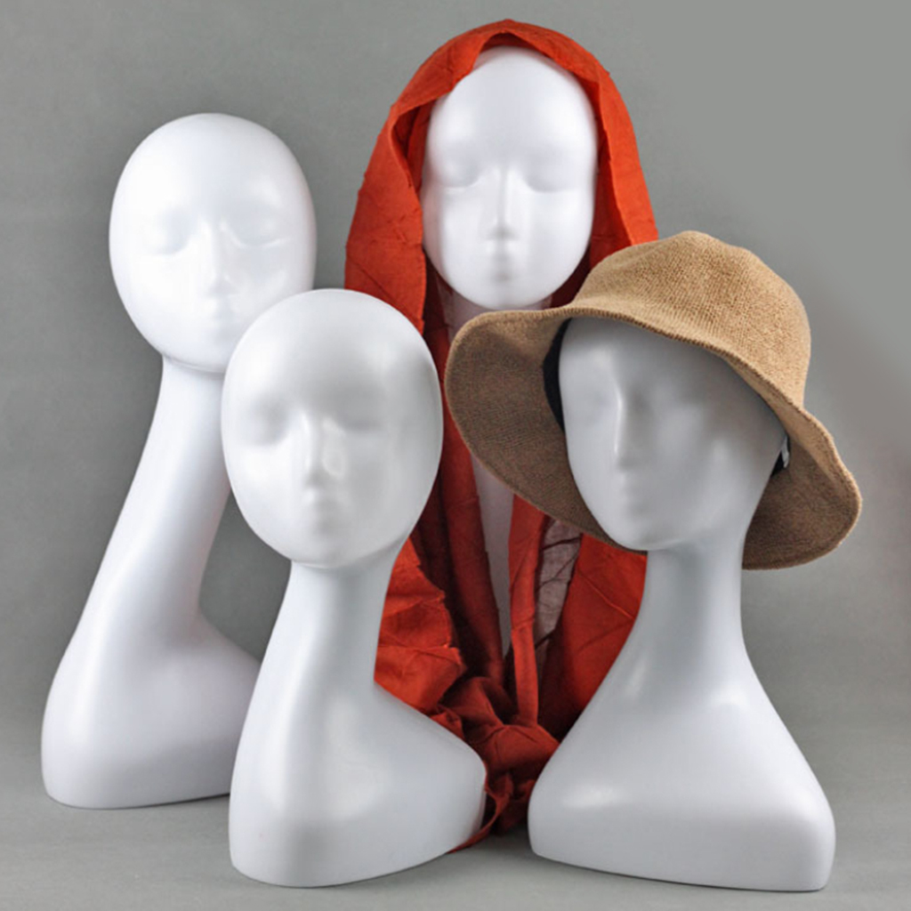 Female Manikin Head Models Mannequin Head Scarf Jewelry Glass Display Holder Hat Cap Display Stand Wig Stands Rack