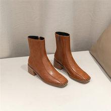 Meotina kış yarım çizmeler kadınlar doğal hakiki kalın yüksek topuklu kısa çizmeler fermuar kare ayak ayakkabı kadın sonbahar boyutu 34-39(China)