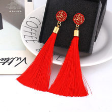 Yellow Crystal Flower Fringe Earings Earing Geometric Long Dangle Tassel Earrings For Women 2019 Fashion Jewelry Oorbellen Gift(China)