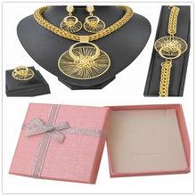 Afrikanischen Chunky Schmuck Sets für Frauen Halskette Dubai Gold Schmuck Sets Halskette Ohrringe Kostüm Erklärung Jewel(China)
