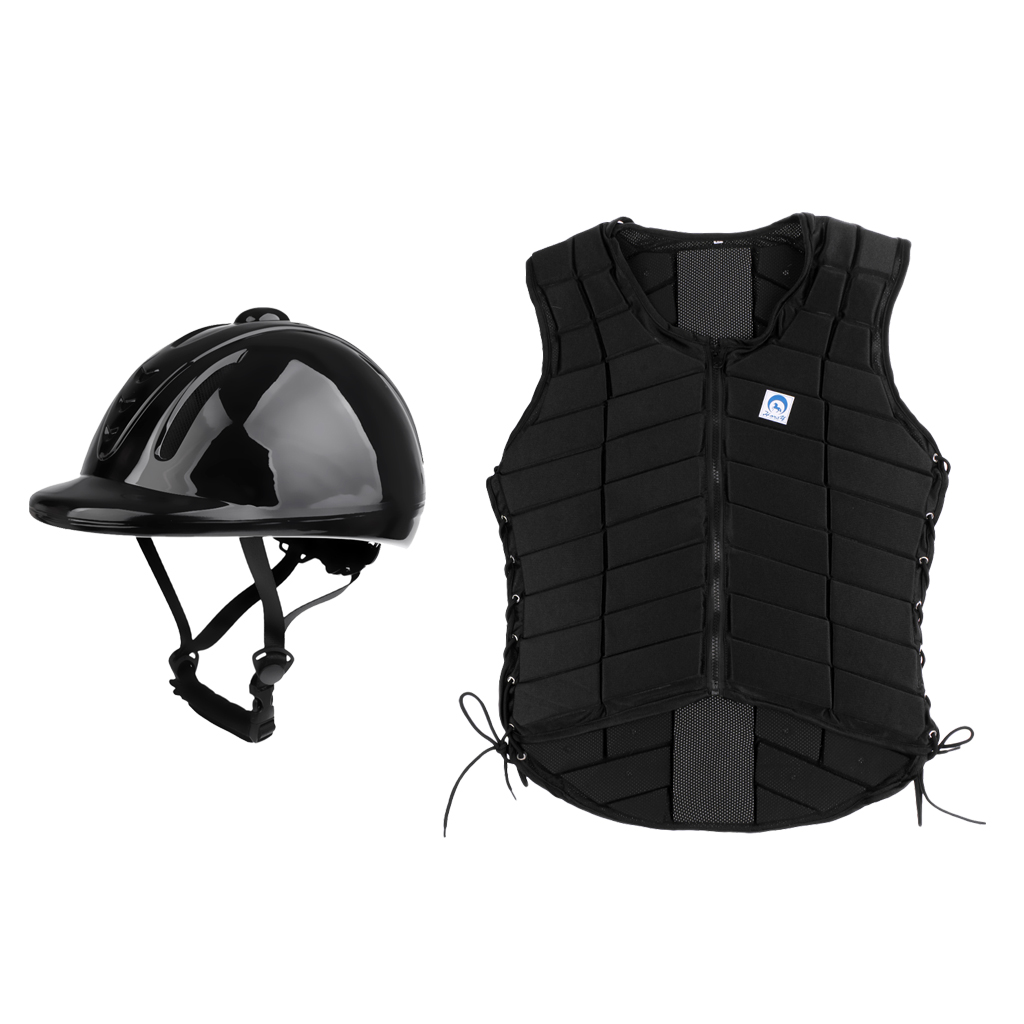 Women Safety Horse Riding Equestrian Vest Body Protector with Helmet Size M