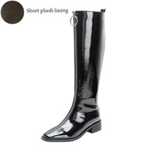 2019 Fashion Front Zip Knee High Boots Comfort Low Heel Knight Boots Black Ladies Square Toe Martin Shoes Woman Plus Size 33-42(China)