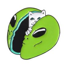 Verde Avocado Dello Smalto Spilli Collezioni Meme Ketnipz Gatto Hedgehog Distintivo Personalizzato Gioielli Spille Risvolto Spille per Le Donne Degli Uomini(China)
