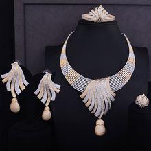 GODKI Luxus Feder Lariat Blume Frauen Hochzeit Zirkonia Halsreif Halskette Ohrring Dubai Schmuck-Set Schmuck Addict(China)
