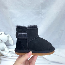 Bebek kar botları erkek kız kış sıcak koyun derisi deri ayakkabı gerçek kürk yürümeye başlayan kar giyim yarım çizmeler su geçirmez ayakkabı(China)