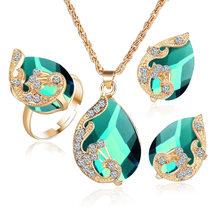 Jouval זהב טיפת מים האוסטרי קריסטל שרשרת עגילי טבעת יוקרה כלה חתונת אופנה לנשים נקבה Bijoux(China)