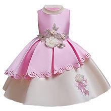 Nuova ragazza 2019 vestito Dal Tutu Della Principessa dolce e bella moda genealogia ragazza di fiore abito da sposa vestito dalla ragazza Di Natale(China)