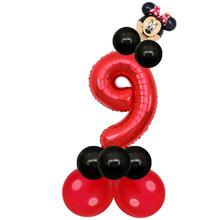"""17 pçs/lote Mickey Minnie Cabeça 30 """"Red Número Balões Foil para 1st Látex Globos Decorações Da Festa de Aniversário Crianças Brinquedos de Banho Do Bebê(China)"""