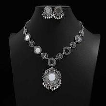 Livraison gratuite nouvelles femmes Vintage rétro argent-couleur africaine coloré pierres de mariage bijoux collier boucles d'oreilles ensembles meilleur cadeau(China)
