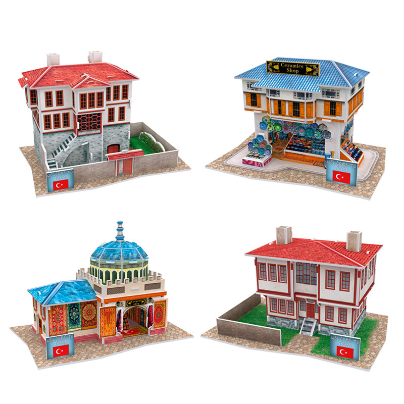 Cubic Fun DIY House 3D Puzzle Turkey Feature Paper Models, Assembly Puzzle 3D World Style Models Educational Toys For Children(China (Mainland))