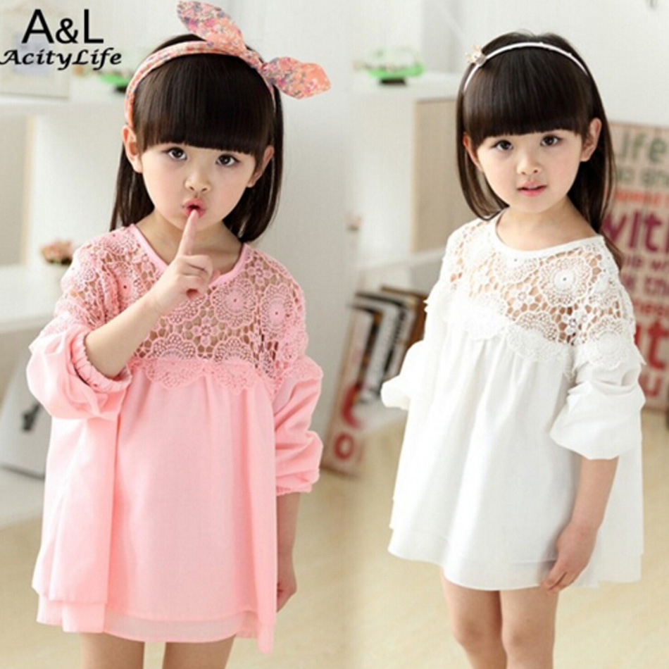 Retail New 2016 Spring Summer Girls Clothes Long Sleeve Baby Girl Chiffon Dress Brand Kids Children Clothing Lace Party Dresses(China (Mainland))