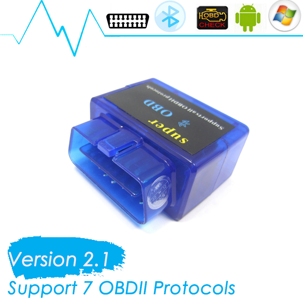 Mini Blue ELM327 Bluetooth Car Diagnostic Interface 16Pin OBD2 V2.1 ELM 327 Wireless Scanner Work on Android Torque Pro(China (Mainland))