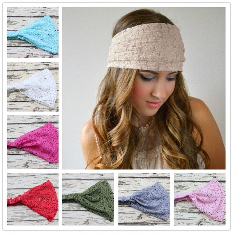 New Fashion Women Lace Solid Fresh Headband Wide Headwrap Bandanas Head Wraps Spring Summer Hot Sale Turban(China (Mainland))