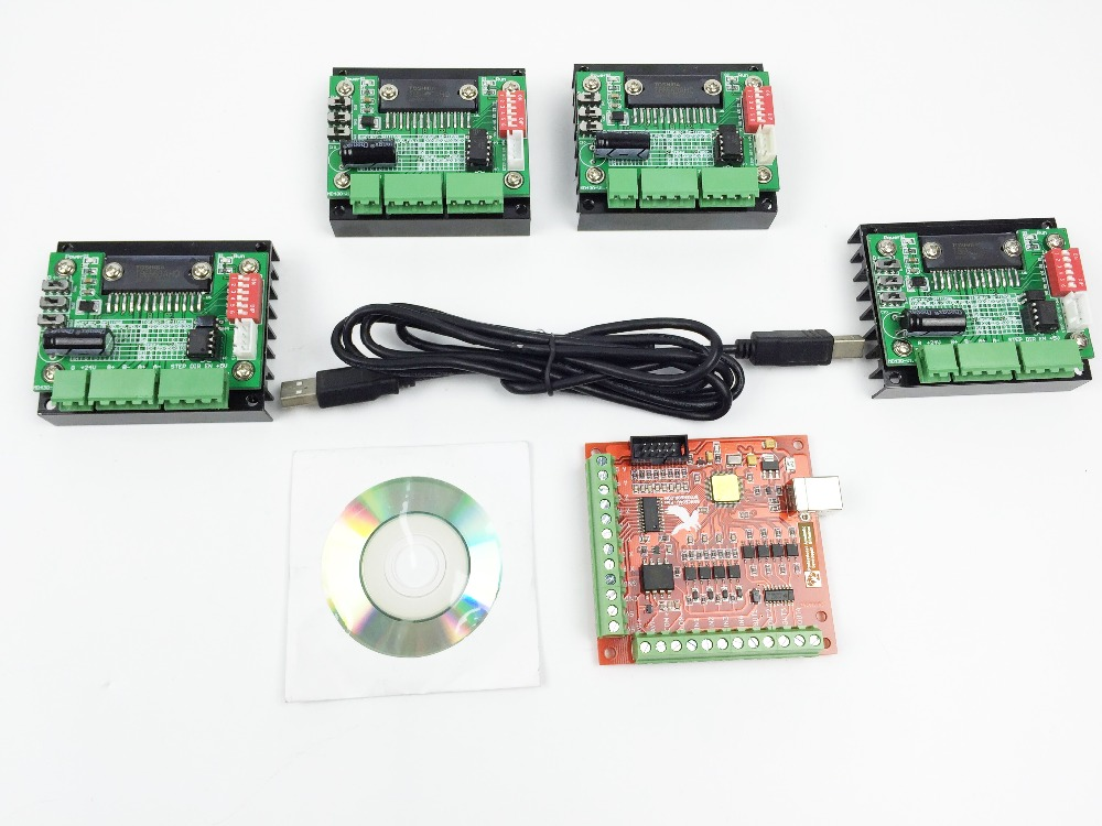 Фотография CNC Router mach3 USB 4 Axis Kit, 4pcs TB6560 1 Axis Driver Board + one mach3 4 Axis USB CNC Stepper Motor Controller card 100KHz