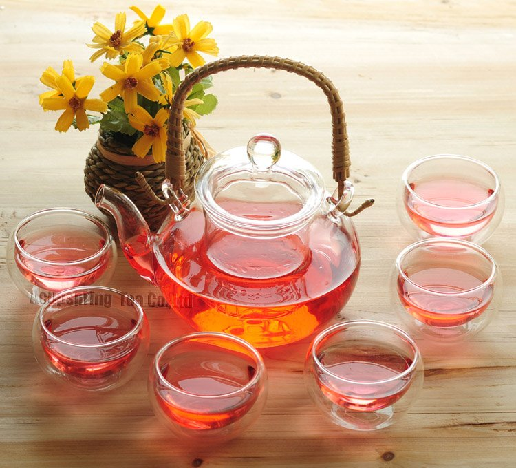 600ml Glass teapot+6 Cup, Rattan Handle,B016, Free Shipping