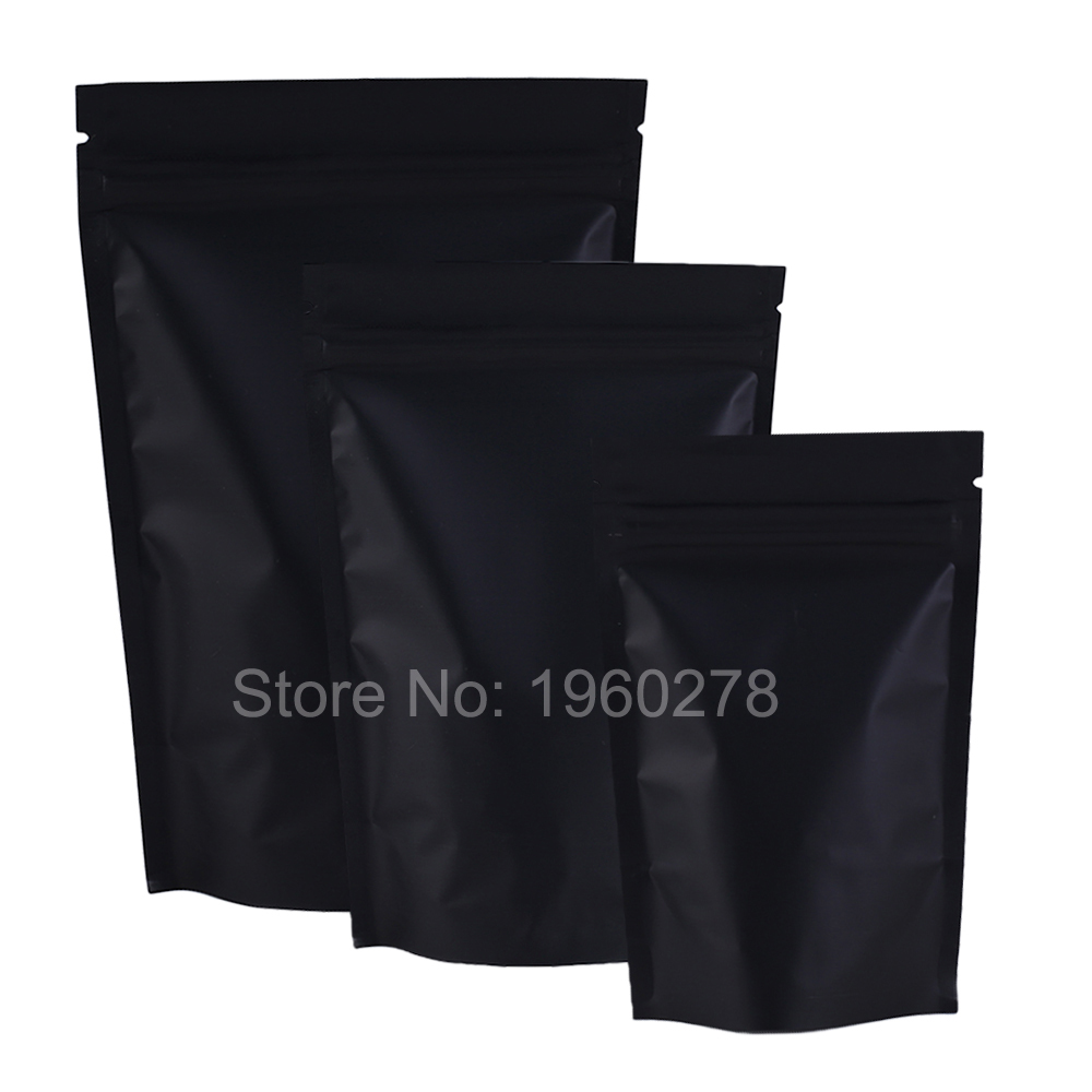 12x18cm (4.7x7inch) 100pcs barrier heat seal Retail Package bag black aluminum foil ziplock stand up pouches for tea snacks(China (Mainland))