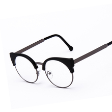 Fashion Women Brand Designer Cat's Eye Glasses Half  Frame Cat Eye Glasses Women Eyeglasses Frames High quality Grau F15010(China (Mainland))