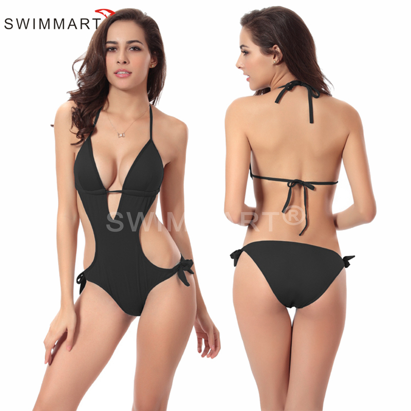 Hot Wholesale Vintage 2016 Push up Padding swimsuit strappy Sexy monokini 8 Solid colors Women Swimsuit One Pieces VS003(China (Mainland))