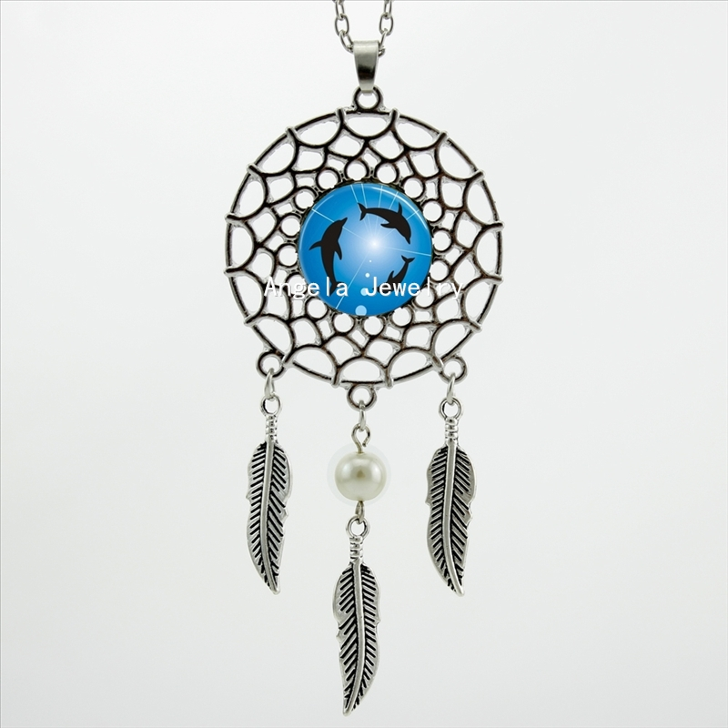 2016 Trendy Style Dream Catcher Jewelry Dolphins Necklace Circling Dolphins Pendant Dreamcatcher Feather Necklace DC-00208(China (Mainland))
