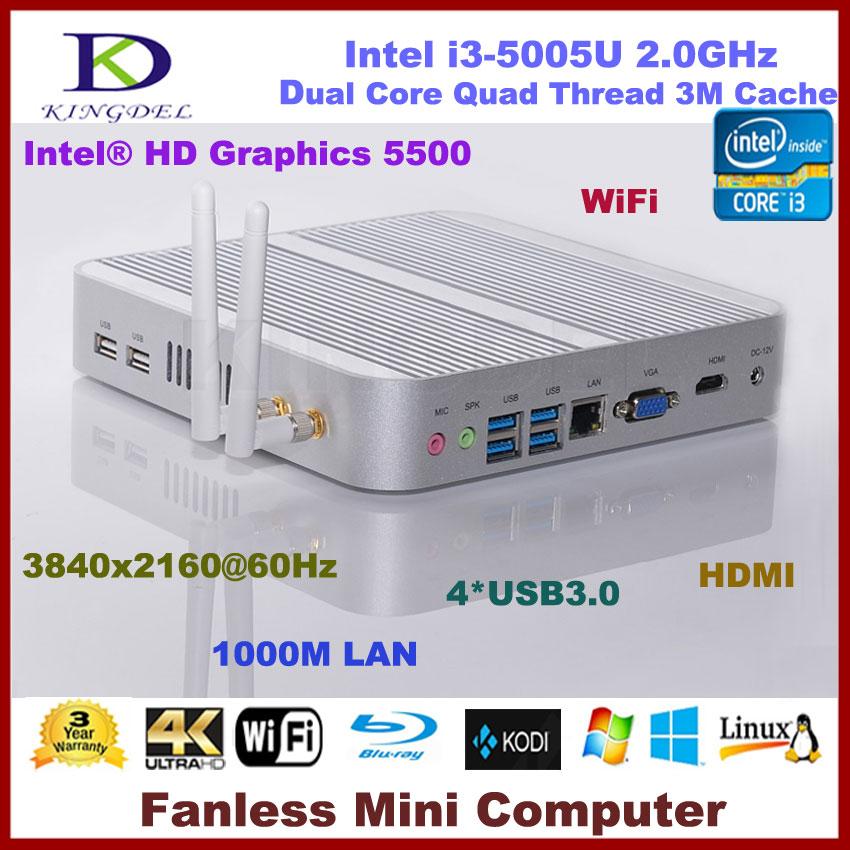 fanless mini itx pc intel core i3 5005u i5 4200u hd graphics wifi hdmi vga usb3 0 300m wifi. Black Bedroom Furniture Sets. Home Design Ideas