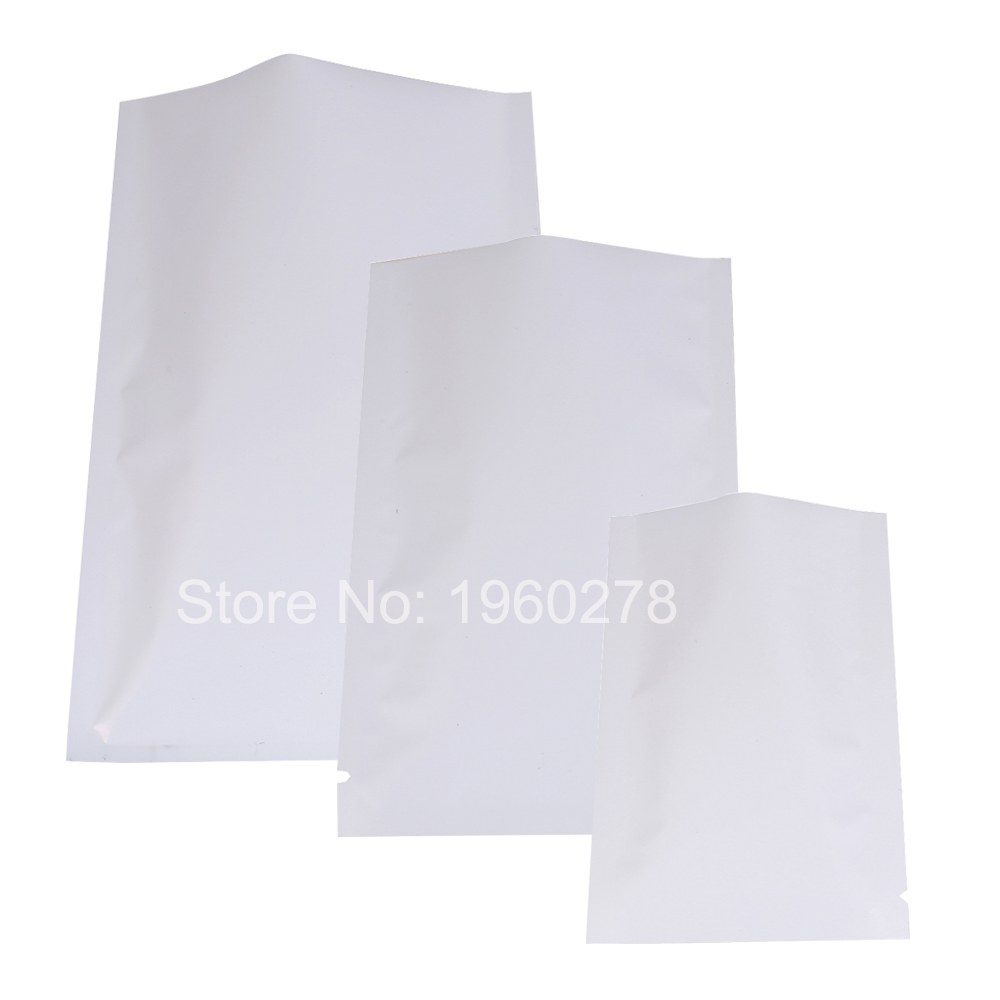 High quality 100Pcs/Lot Open Top White Aluminum Foil Plastic Package Bags Vacuum Pouches Food Storage Heat Seal Mylar flat pouch(China (Mainland))