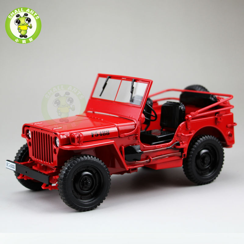 1:18 1/4 Ton US ARMY WILLYS JEEP TOP DOWN Diecast Car Toys Model Welly Red(China (Mainland))