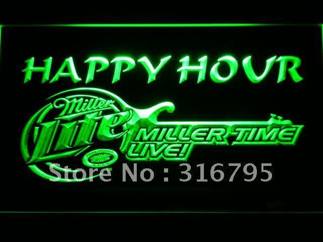 606 Miller Lite Guitar Happy Hour Bar Beer LED Neon Sign