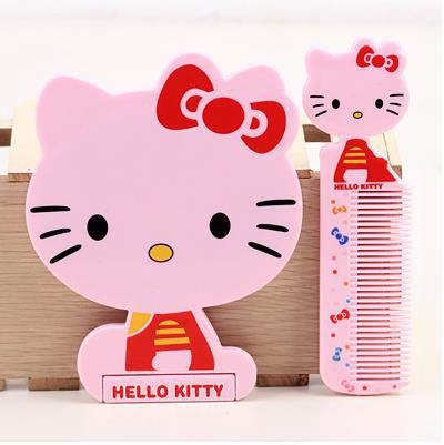 13.4*10CM kawaii Hello Kitty Cosmetics Mirrors Set / Beauty Mirrors / Makeup Mirrors With Comb 1pcs(China (Mainland))