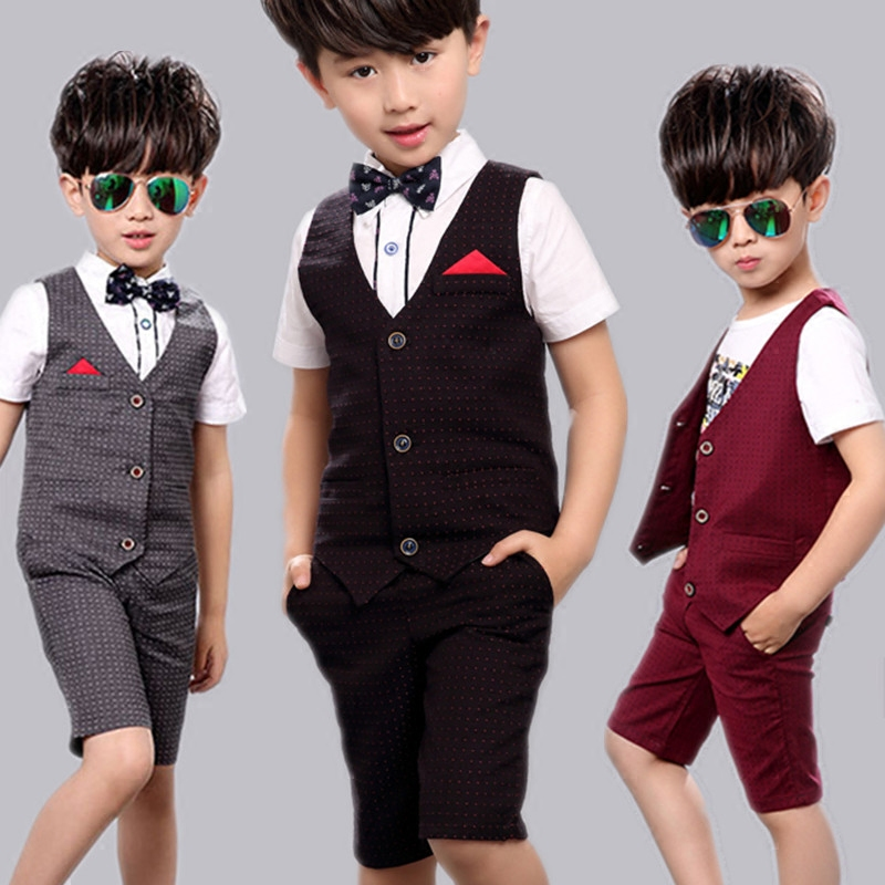 New Design 3Pcs Formal Wedding Striped Suit for Gentle Boys Brand Flower Boys Dress Shirts with Bow Tie Baby Boy Vest Suit(China (Mainland))