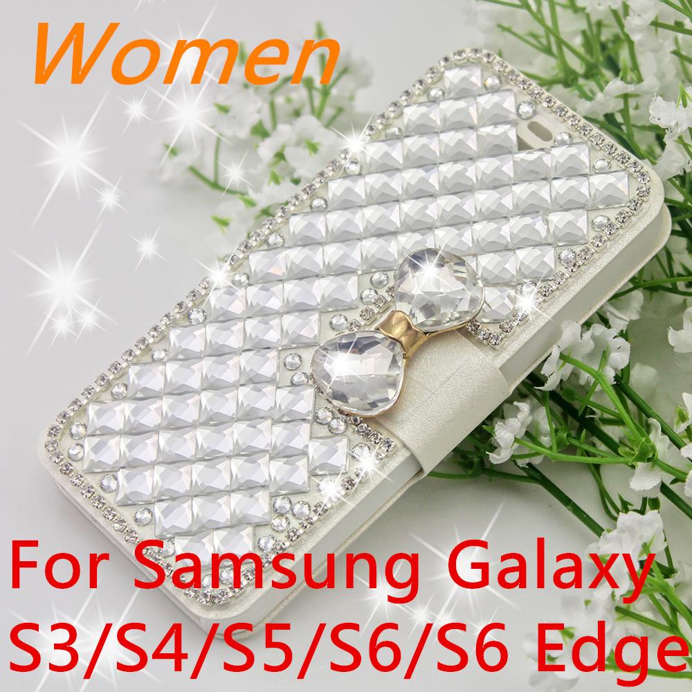3D New Women Crystal Diamond Phone Case For Samsung Galaxy SIII I9300/S4 I9500/S5 /S6 /S6 Edge Rhinestone Bling Leather Flip(China (Mainland))