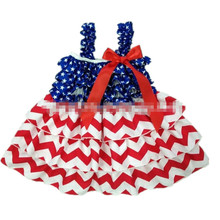 Girls Dress European American Style Baby Birls Dress 2016 New Arrive Summer Girls Blue White Red 4th Of July Dress Girls Clothes(China (Mainland))